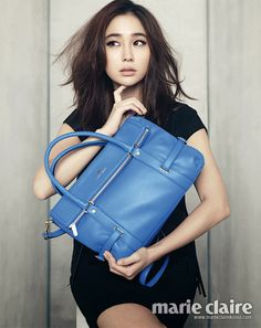 """The February edition of Marie Claire Korea features Lee Min Jung as a """"Gorgeous Statue,"""" brandishing Vincis Bench's spring/summer collection. Jung So Min, Asian Celebrities, Celebs, Korean Star, Korean Actresses, Wedding Art, Korean Women, Marie Claire, Women's Handbags"""