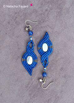 Macramé bleu lapis cobalt sodalite nacre boucles d'oreilles miyuki boho bohème chic bijoux de créateur made in France