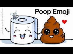 How to Draw Poop Emoji Easy - Funny Cartoon Cute Poop and Toilet Paper Roll - YouTube