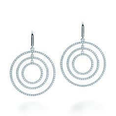 Tiffany Metro round drop earrings in 18k white gold with diamonds, large.