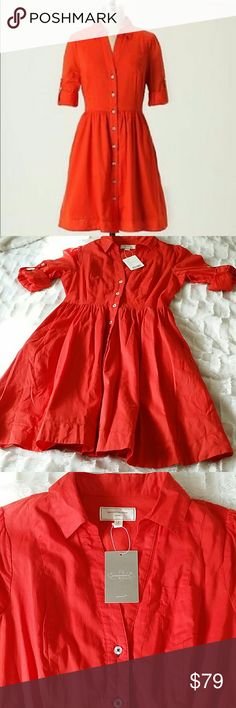 Moulinette Soeurs Reed Shirtdress NWT New with Tag  Orange (perfect for the holidays) Reed Shirtdress Button up, with pockets. This dress is so beautiful. Anthropologie Dresses Midi
