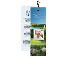 Golf themed memorial bookmark design layout template for any golfer sports enthusiast.