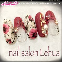Gorgeous Nail Designs For Special Events Flower Nail Designs, Flower Nail Art, Gel Nail Designs, Creative Nail Designs, Creative Nails, Bling Nails, Red Nails, Korean Nails, Japanese Nail Art