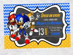 Hey, I found this really awesome Etsy listing at https://www.etsy.com/listing/242627937/sonic-the-hedgehog-birthday-invitation