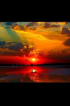 Deep reds as the sun dips--nice!