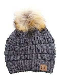 ad2a3e20a55 Plum Feathers Soft Stretch Cable Knit Ribbed Faux Fur Pom Pom Beanie Hat