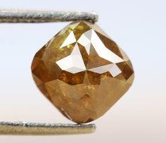 0.88 Ct, 5.0 X 4.8 X 3.4 MM, Cushion Shape Greenish Orange Color Natural Loose Beautiful Diamond, Fancy Antique Diamond Jewelry, Gifts, R676 by RusticDiamondWorld on Etsy