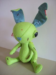 Handmade felt Zombie bunny by STUFFEDwithcuteness on Etsy. I want one!