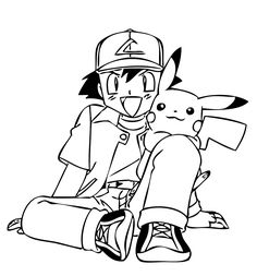 Friends from Pokemon anime coloring pages for kids, printable free