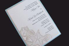 HAnd stamped beach wedding invite