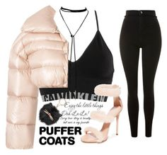 A fashion look from November 2017 featuring padded puffer jacket, super high rise skinny jeans and seamless lingerie. Browse and shop related looks. Calvin Klein Underwear, Giuseppe Zanotti, Off White, Elsa, Kate Spade, Topshop, Shoe Bag, Coat, Polyvore