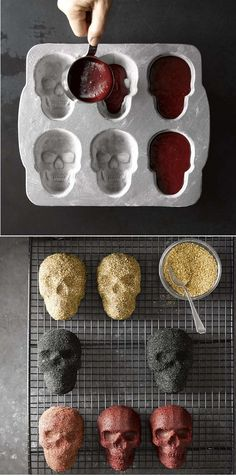 Skull Cake Molds from Williams-Sonoma. When it comes to making Halloween desserts, six heads are better than one. Our plaque makes it easy to conjure up half-a-dozen petite skulls. Fiendish features include deep eye sockets and toothy grins that are quite Halloween Desserts, Halloween Food For Party, Spooky Halloween, Diy Halloween Decorations For Your Room, Halloween Decorations Apartment, Cute Halloween Treats, Paper Halloween, Outdoor Halloween, Vintage Halloween