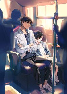 Adorable artwork of Heiji and Conan, getting a bit bigger, both asleep together on a bus. Handsome Anime Guys, Cute Anime Guys, Cute Anime Couples, Conan Comics, Detektif Conan, Heiji Hattori, Boku No Pico, Detective Conan Wallpapers, Kaito Kid