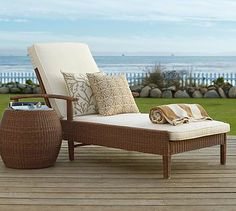 Palmetto All-Weather Wicker Single Chaise - Honey #potterybarn from website.