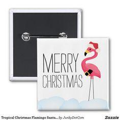 De tropische Flamingo de Kerstman van Kerstmis Vierkante Button 5,1 Cm - Oct 8