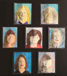 Symmetrical Faces by a Grade Class Moon Painting, Spring Art, Beautiful Artwork, Art Lessons, Tulips, Art Gallery, Arts And Crafts, Faces, Kitchen Island