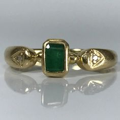 Antique Emerald and Diamond Ring. 18K Yellow Gold. Unique Engagement Ring. Promise Ring. Estate Jewelry. May Birthstone. 20th Anniversary.