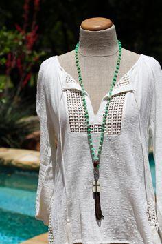 Chrysoprase Diamond Clasp Necklace, Rosary Chain, Leather Tassel, OOAK, Long Layering Necklace, Pave Diamonds, Green Chrysoprase, Boho Style