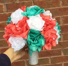 Reserved-Jennifer-Coral & Aqua wedding silk flower package