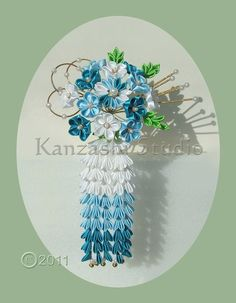 Oooo.... I love this... I love Kanzashi flowers, I love Asian anything, I love wisteria and I love these colours, lol... I would wear this somewhere :)