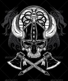 Vector Hand Drawn Viking Skull, Axe, and Shield  #GraphicRiver         Layered .ai and .eps vector hand drawn Viking Skull Illustration. The illustration consists of skull, helmet, axe, shield, and decorative dragon: