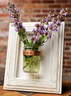Framed Mason Jar Wall Sconce Rustic White Flower/ Plant/ Candle Holder. $24.00, via Etsy.
