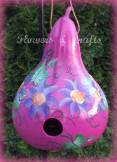 pink floral painted gourd birdhouse