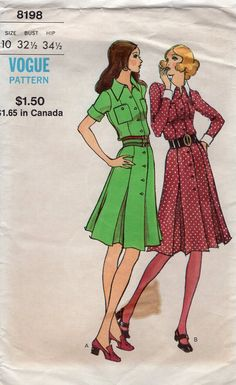FREE US SHIP Vogue Sewing Pattern 8198 Vintage Retro 1960's 60's Mod Shirtdress Inverted Pleat Skirt Dress Uncut Bust 32.5 Sewing Pattern by LanetzLiving on Etsy