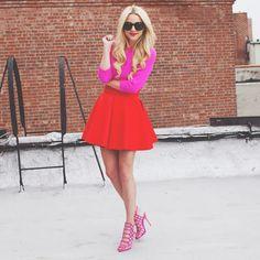 // lately // (J Crew sweater + H&M skirt + Schutz heels + Karen Walker sunnies) Karen Walker, Look Fashion, Fashion Outfits, Female Fashion, Fru Fru, Vogue, Red Skirts, Colourful Outfits, Classy And Fabulous