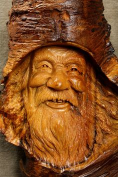 Wood Spirit Carving Mothers Day Art Gift by TreeWizWoodCarvings, $115