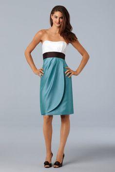 WTOO 755 Shantung knee length dress with empire band and side draped skirt Fabric Shantung  #timelesstreasure