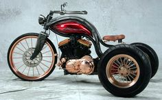 Steampunk Custom Motorcycle - Copper plated Steampunk trike with a 1200 Sportster engine and 5 speed transmission.