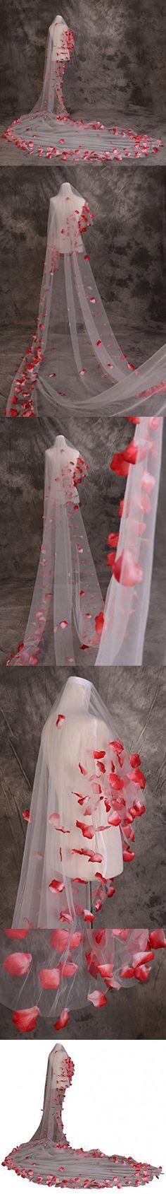 Drasawee 1T Cathedral Length Red Flower Petal Long Wedding Bridal Veil 500CM/196Inch