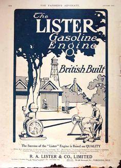 1914 Lister Gasoline Engines original vintage advertisement. The success of Lister is based on Quality. British Built Gasoline Engine.