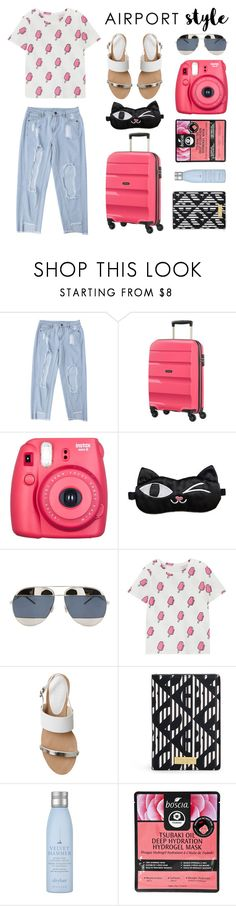 """Airport Style"" by lysianna ❤ liked on Polyvore featuring American Tourister, Fuji, Christian Dior, Office, Henri Bendel, Drybar and Boscia"