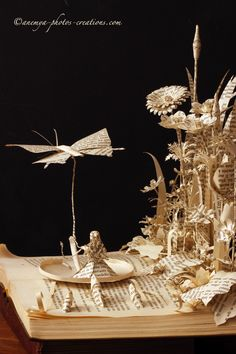 Thumbelina book sculpture side view by KarineDiot