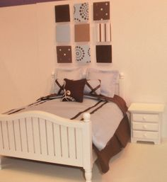 Shop  rondavallejo  Avalon Miniatures  Miniature dollhouse 1:12 scale full/double size bedding and wall art in blue and brown.