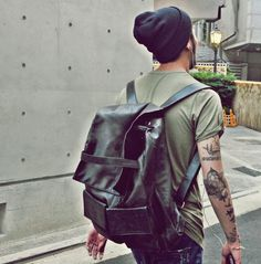 Beanie leather bag t shirt ink. Men Style tumblr