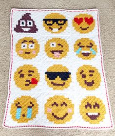 emoji crochet blanke