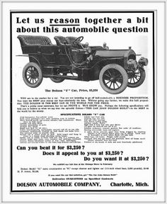 1907 The Durable Dolson, ''The Dolson is the Best Car in the World For The Price '', Dolson ''F'' Car $3,250 55-60 H.P., Seven Passenger Motor Car, Charlotte,