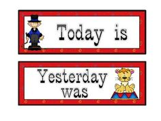 Calendar cards that include the days of the week, Today is, Yesterday was, and Tomorrow will be.I have added most of the Circus Theme files.  I will add the classroom jobs and student information sheets as well as the complete bundle tomorrow.