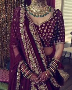 Photo by blueroseartistry and I got sick of all of their hashtags Indian Bridal Lehenga, Indian Bridal Fashion, Indian Bridal Wear, Indian Wedding Outfits, Bridal Outfits, Indian Wear, Asian Fashion, Indian Outfits, Bridal Dresses