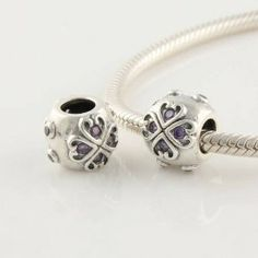 925 Sterling Silver Hearts with Purple Cz Czech Crystal Charms/beads for Pandora, Biagi, Chamilia, Troll and More Bracelet general gifts. $19.99. Suitable for 3mm Cable Pandora and other European Charm Bracelets. Materials: 925 Sterling Silver (Stamped). Quantity: 1pc. Color: silver and purple CZ Crystal. Weight: 2.5gram. Hole Size: 4.5mm. Save 67%!