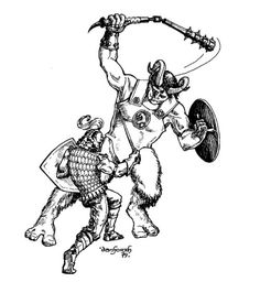 Fighting a troll in a tunnel (Liz Danforth, Tunnels & Trolls 5th ed, Flying Buffalo, 1979.)