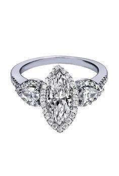 Marquise Diamond Halo Engagement Ring Pear Shape Side Stones