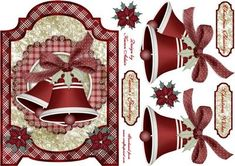 This is a screen shaped card front and features beautiful Christmas Bells. Decoupage is included along with three sentiment tags to choose from. If you like this check out my other designs, just click on my name.