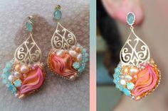 Serena on fb love the filigree and ribbon Ribbon Jewelry, Soutache Jewelry, Jewelry Crafts, Beaded Jewelry, Fancy Earrings, Beaded Earrings, Handmade Accessories, Handmade Jewelry, Shibori Fabric