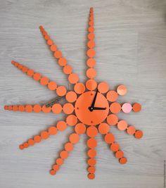 """Купить Часы 70см/56см """"Punktid"""" - оранжевый, настенные часы, стильные часы, оригинальные часы"""