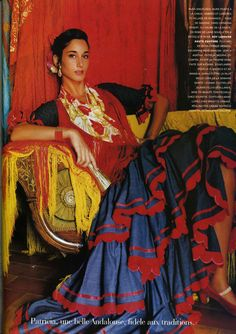 Photograph From Seville In Mantilla By Mario Testino For Vogue Paris' November 1995 Issue