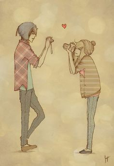 camera, couple, cute, drawing